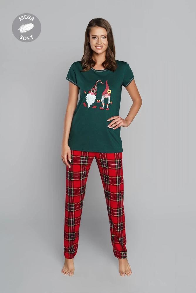 Piżama damska santa krótki rękaw długie spodnie