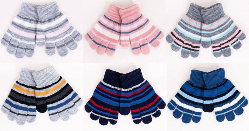 Rękawiczki 5p akrylowe dziecięce  w paski r-118